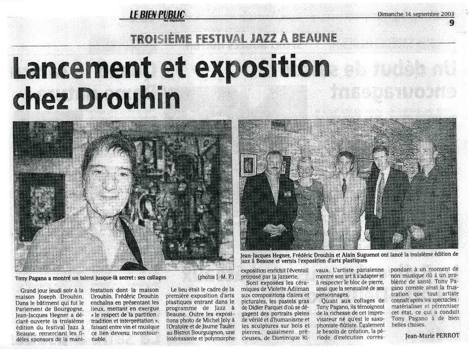 Article LE BIEN PUBLIC - Jazz à Beaune 2003