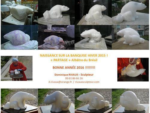 Sculpture ourse en albâtre du Brésil