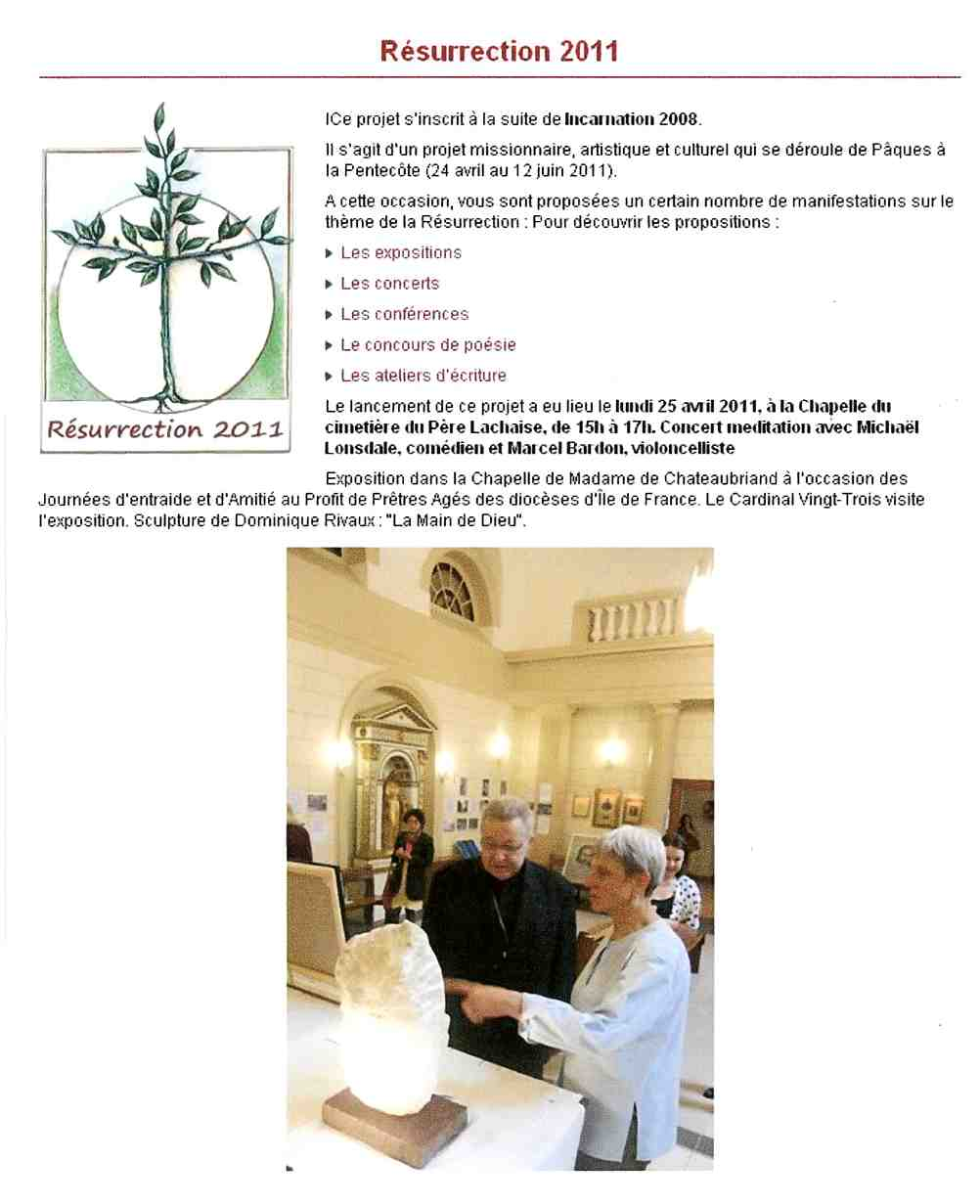 "Article ""Site Évêché"" - expo en la Chapelle de Mme Chateaubriand - ""La Résurrection"" en 2011"