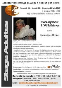 Flyer pour le Stage Sculpter l'Albâtre avec Dominique Rivaux - 2016