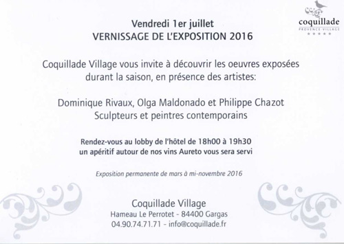 Invitation au Vernissage de Coquillade 2016