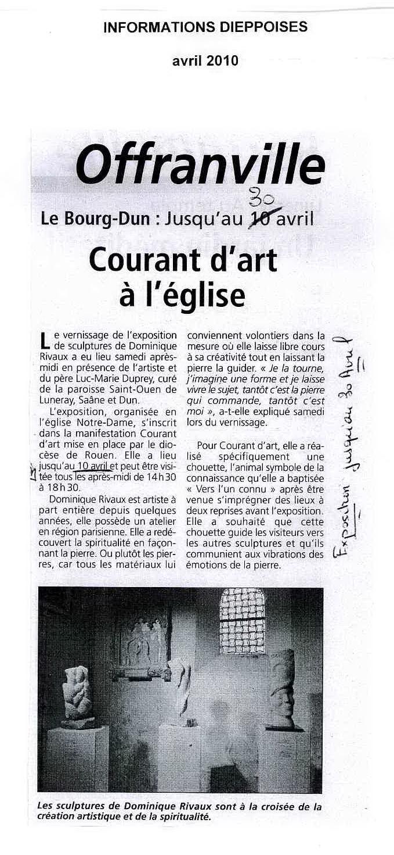 COURANT D'ART - article Informations Dieppoises 2010 - Eglise à BOURG DUN