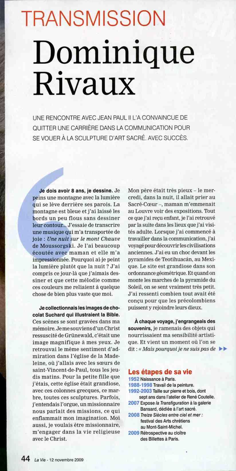 "Article de ""La Vie"" par Martine PERRIN 2009"