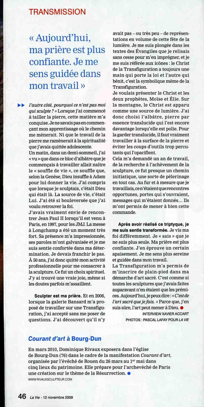 """Sculpter est ma prière - Article de """"La Vie"""" par Martine PERRIN"""