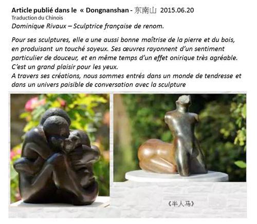 Article sur Dominique Rivaux - sculpteur - Chine
