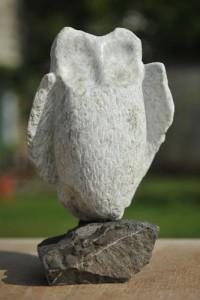 hibou, chouette - sculpture de Dominique Rivaux en gype de Maurienne