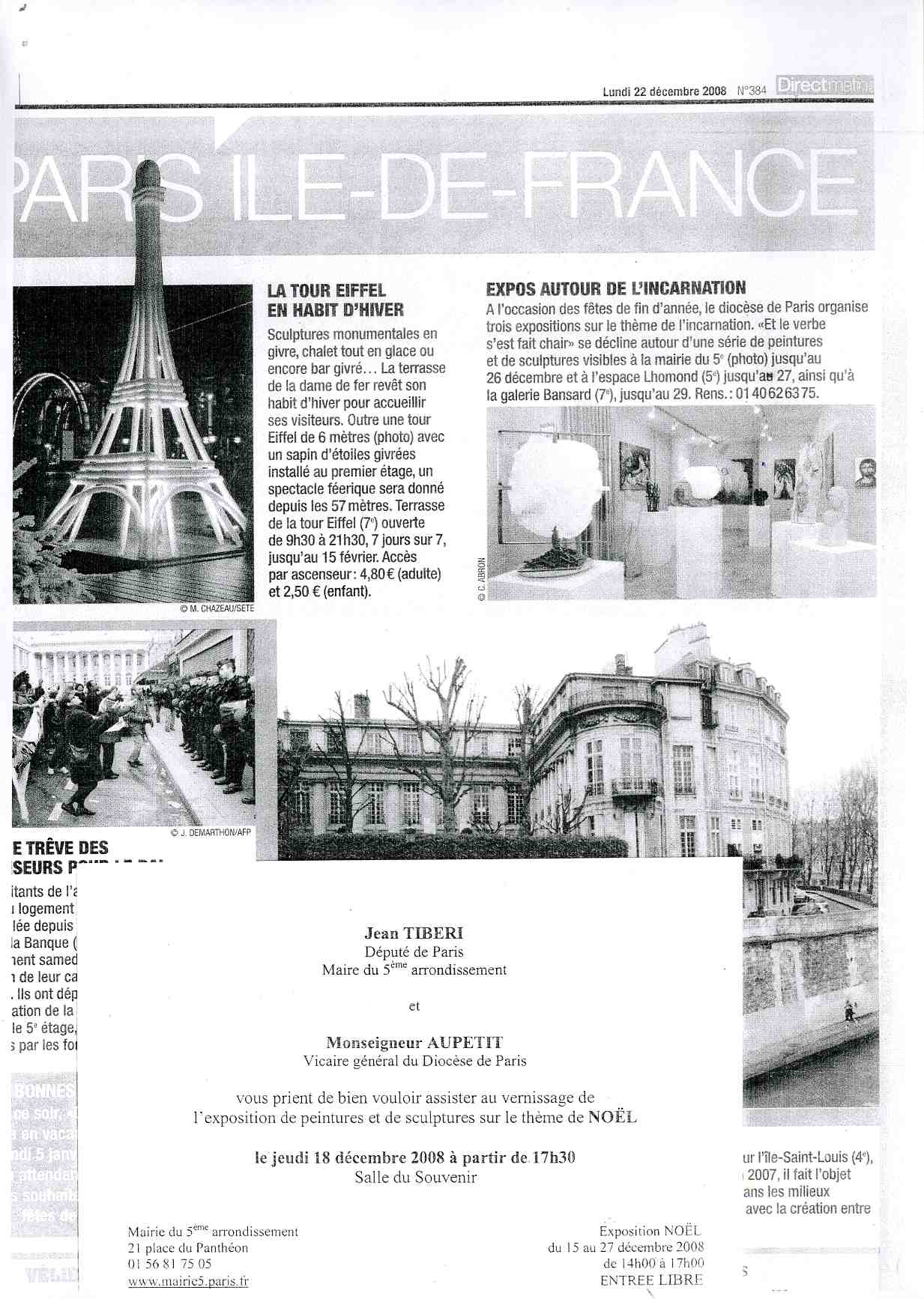 "Article ""Direct Matin"" - Exposition ""L'Incarnation"" - Mairie 5e en 2008"