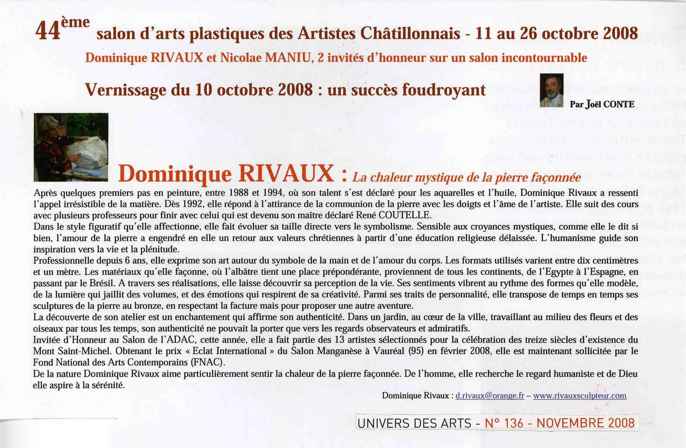 article Univers des Arts - novembre 2008 exposition des Artistes Châtillonnais