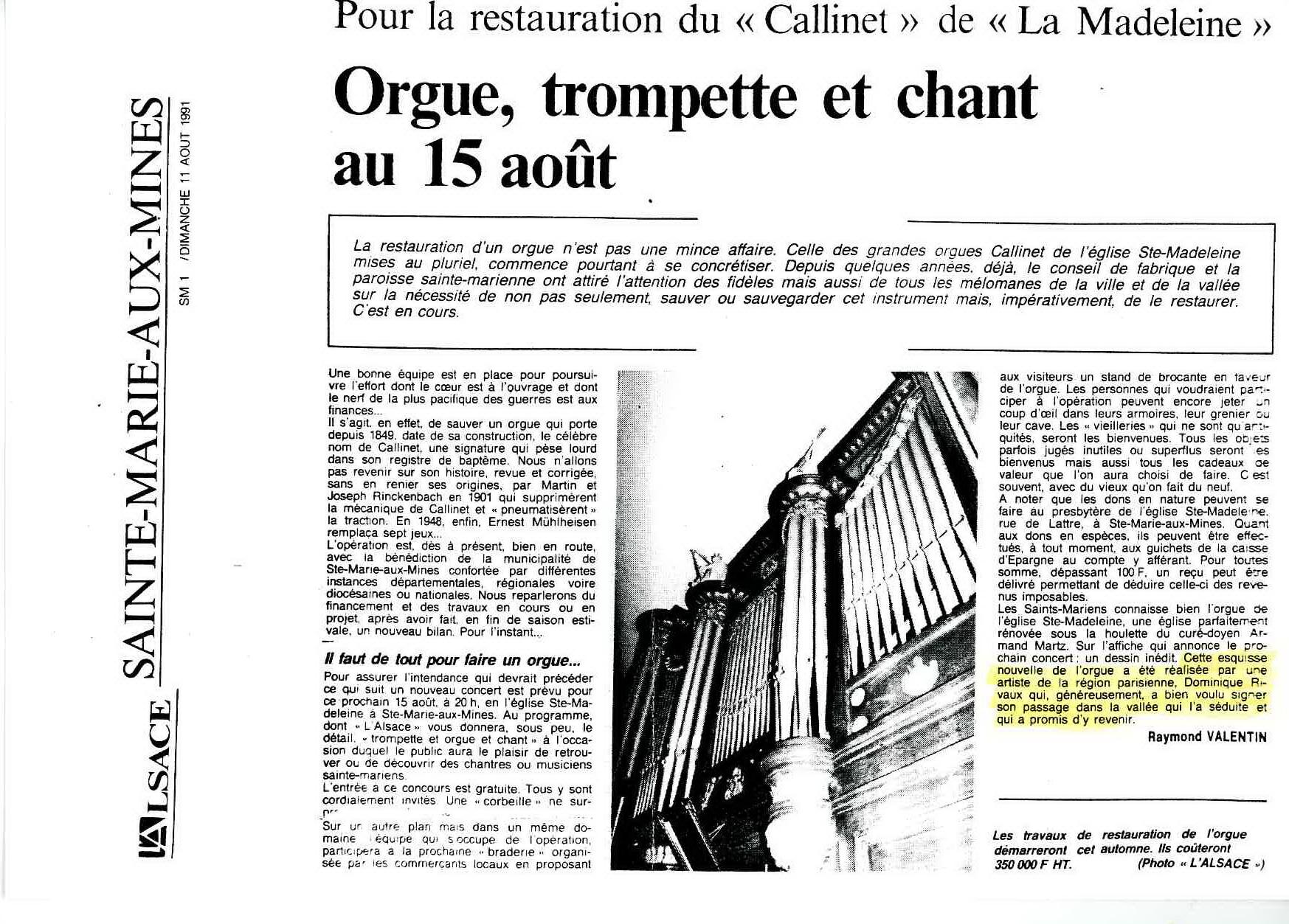 """Article L'Alsace""""- Dessin pour Sainte-Marie-aux-Mines - 1991"""