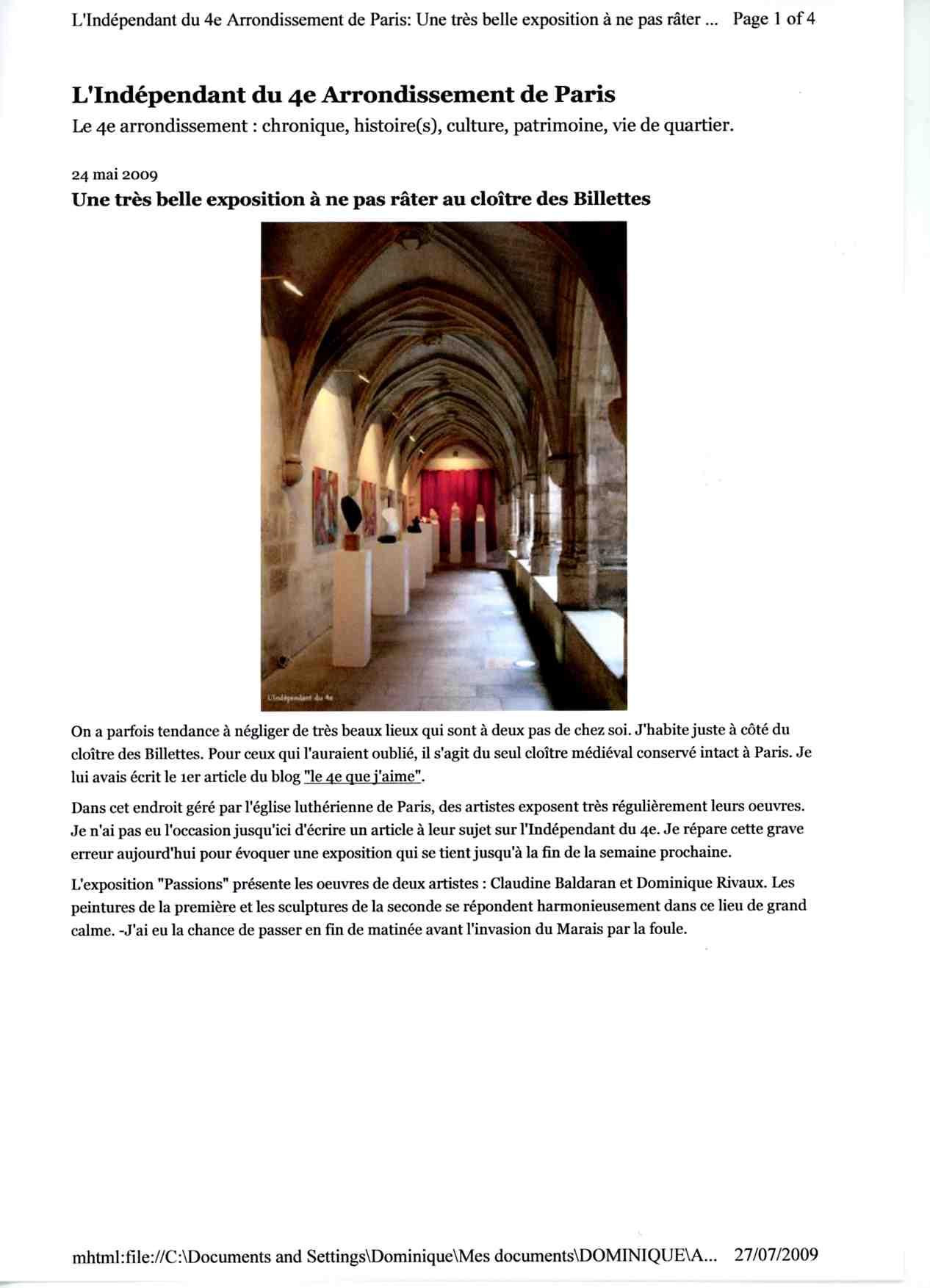 Article de L'Indépendant du 4e Arrondissement de Paris