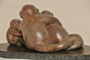 sculpture de singes - Saïmiri - sentiments - amour - Dominique Rivaux
