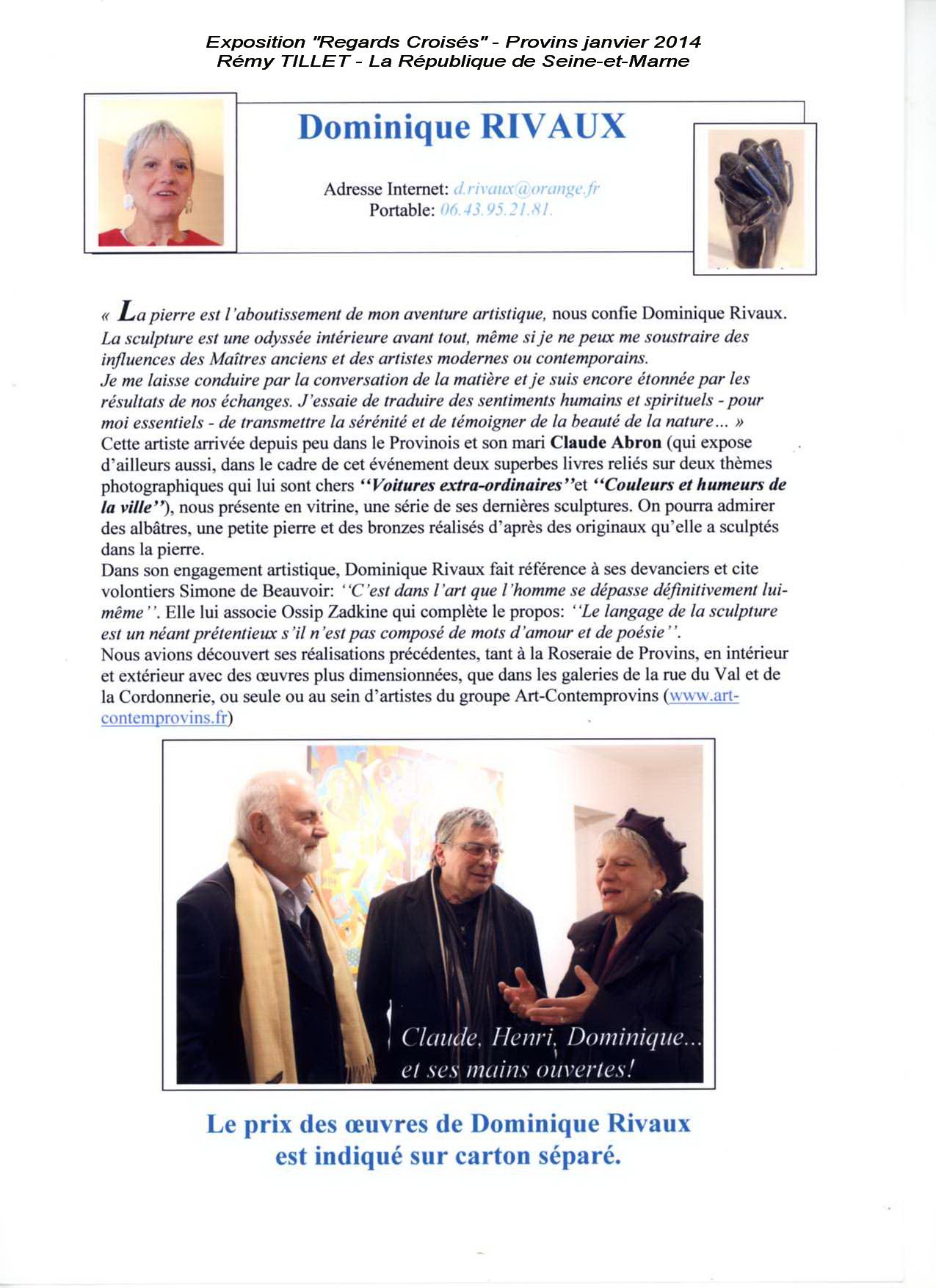 Article de Rémy TILLET paru dans La Republique sur l'Exposition Regards-croisés - Provins 2014