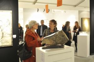 Dominique Rivaux et sa sculpture Promenade - Salon d'Automne 2018