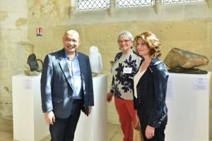 Exposition - Dominique Rivaux - Pascale LOISELEUR, Maire de Senlis et Jean-Pierre VONG Président ADAIS