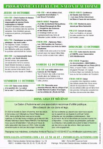 Programme du Salon d'Automne 2019 - Paris