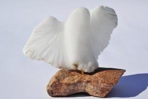 À TIR D'AILES : Albâtre du Brésil sculpture colombe - Rivaux Dominique - photo C. Abron